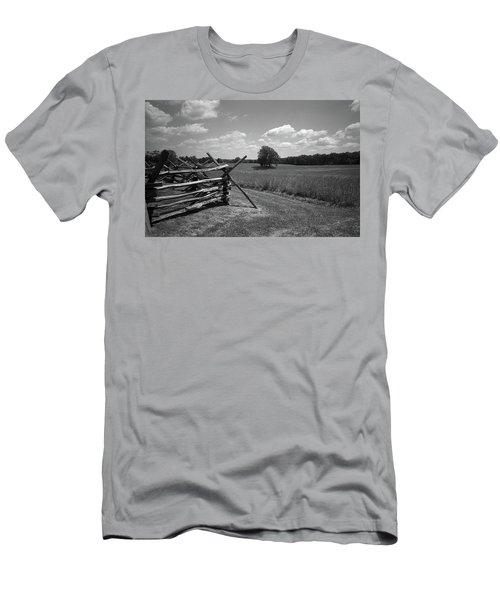 Men's T-Shirt (Slim Fit) featuring the photograph Manassas Battlefield Bw by Frank Romeo