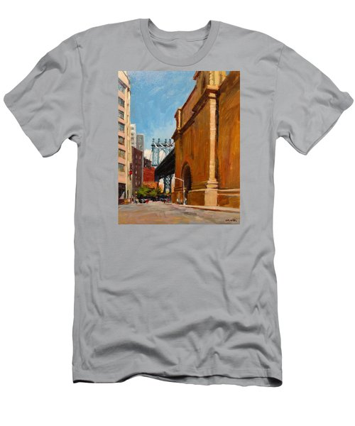 Manhattan Bridge From  Front Street, Brooklyn Men's T-Shirt (Athletic Fit)