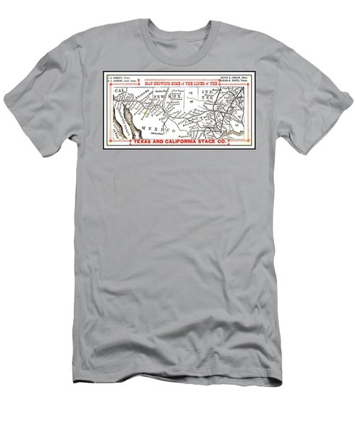 Men's T-Shirt (Athletic Fit) featuring the drawing Map Of Some Of The Lines Of The Texas And California Stage Company Circa 1880s by Peter Gumaer Ogden