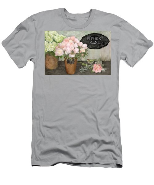 Men's T-Shirt (Athletic Fit) featuring the painting Marche Aux Fleurs 2 - Peonies N Hydrangeas W Bird by Audrey Jeanne Roberts