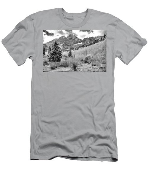 Men's T-Shirt (Slim Fit) featuring the photograph Maroon Bells Monochrome by Eric Glaser