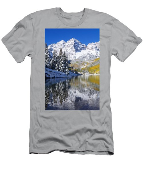 Maroon Lake And Bells 2 Men's T-Shirt (Slim Fit) by Ron Dahlquist - Printscapes