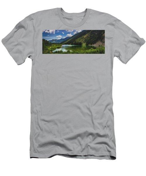 Maroon Lake Panorama Men's T-Shirt (Athletic Fit)