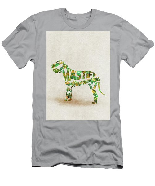 Men's T-Shirt (Athletic Fit) featuring the painting Mastiff Dog Watercolor Painting / Typographic Art by Ayse and Deniz