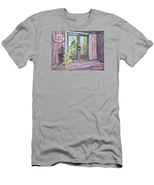 Men's T-Shirt (Slim Fit) featuring the painting Mercier Orchard's Hard Cider by Gretchen Allen