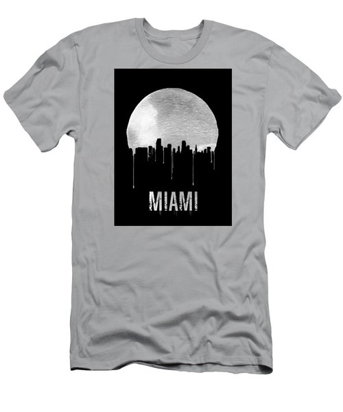 Miami Skyline Black Men's T-Shirt (Slim Fit) by Naxart Studio