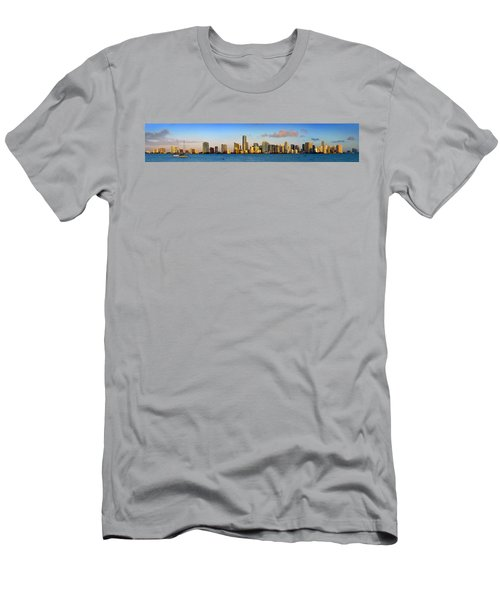 Miami Skyline In Morning Daytime Panorama Men's T-Shirt (Athletic Fit)