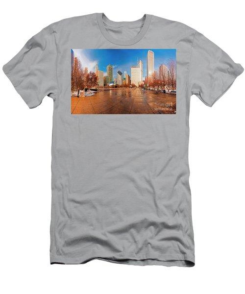 Millennium Park Skyline And The Bean  Men's T-Shirt (Athletic Fit)