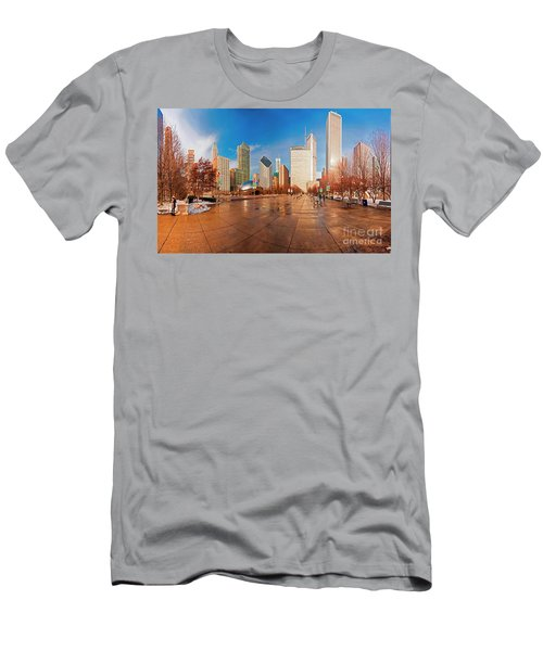 Men's T-Shirt (Athletic Fit) featuring the photograph Millennium Park Skyline And The Bean  by Tom Jelen
