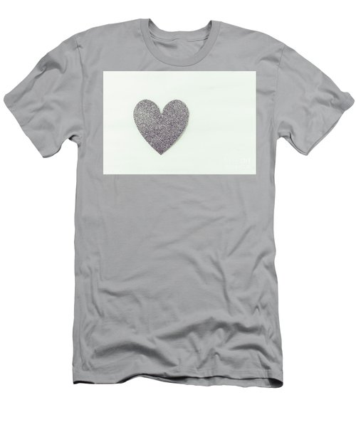 Minimalistic Silver Glitter Heart Men's T-Shirt (Athletic Fit)
