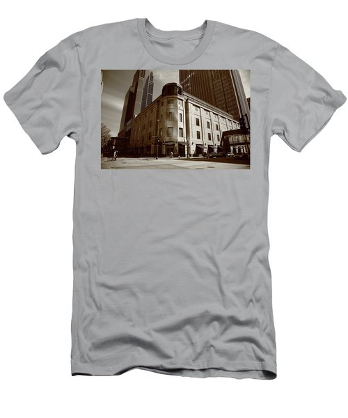 Men's T-Shirt (Slim Fit) featuring the photograph Minneapolis Downtown Sepia by Frank Romeo