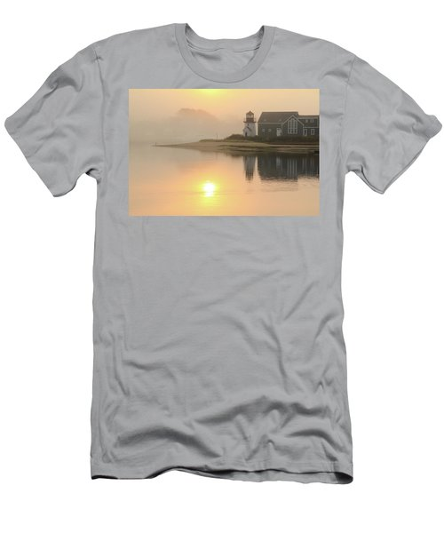 Men's T-Shirt (Slim Fit) featuring the photograph Misty Morning Hyannis Harbor Lighthouse by Roupen  Baker