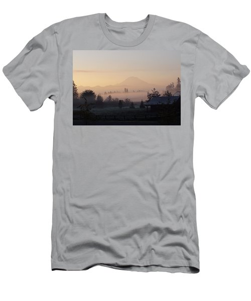 Misty Mt. Rainier Sunrise Men's T-Shirt (Athletic Fit)