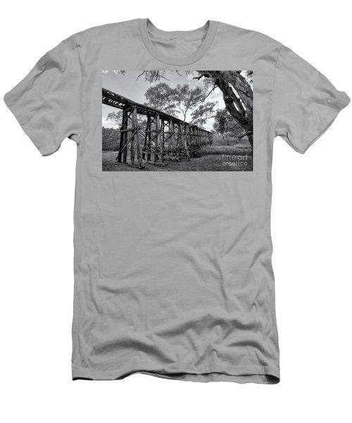 Men's T-Shirt (Athletic Fit) featuring the photograph Mollisons Creek Trestle Bridge by Linda Lees