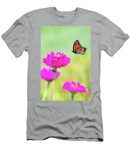 Men's T-Shirt (Athletic Fit) featuring the photograph Monarch In Flight 1 by Brian Hale