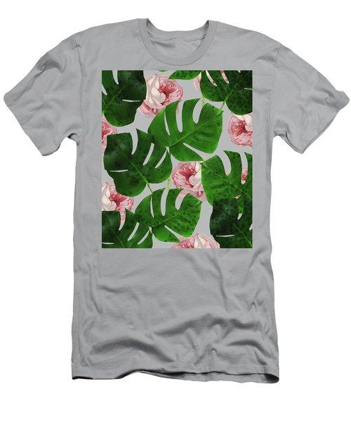 Monstera Rose Pattern Men's T-Shirt (Slim Fit) by Uma Gokhale