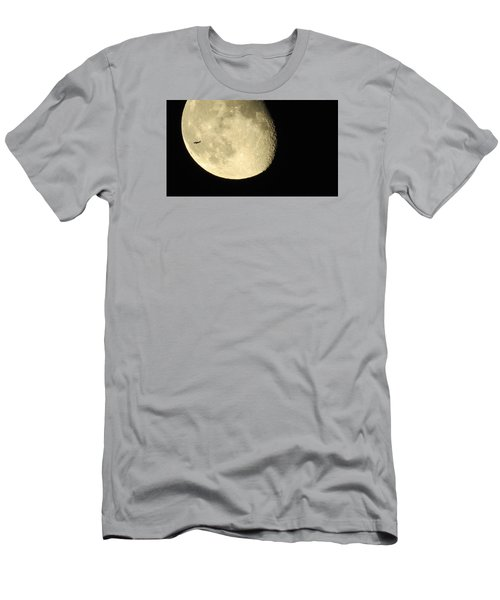Men's T-Shirt (Slim Fit) featuring the photograph Moon And Plane Over Sanibel by Melinda Saminski