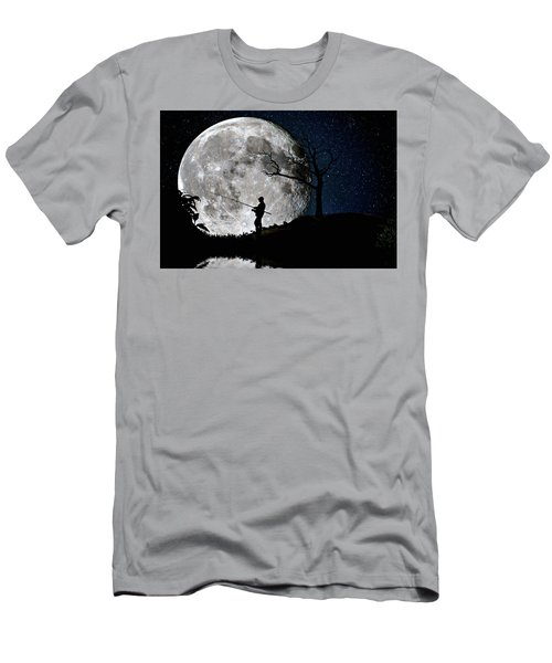 Men's T-Shirt (Slim Fit) featuring the photograph Moonlight Fishing Under The Supermoon At Night by Justin Kelefas