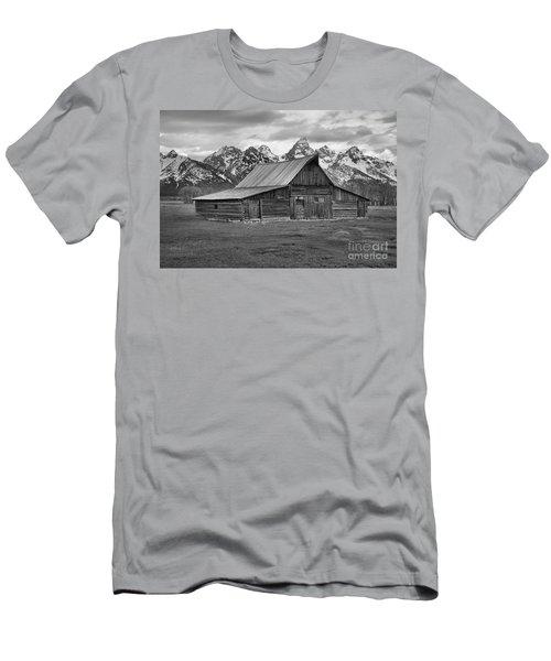 Mormon Homestead Barn Black And White Men's T-Shirt (Slim Fit) by Adam Jewell