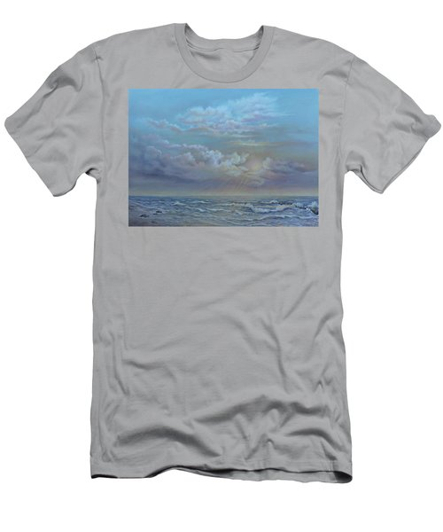 Men's T-Shirt (Slim Fit) featuring the painting Morning At The Ocean by Luczay