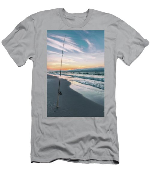 Men's T-Shirt (Slim Fit) featuring the photograph Morning Fishing At The Beach  by John McGraw