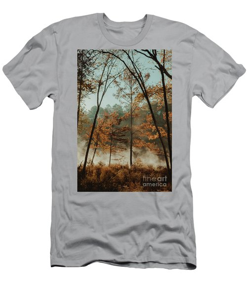 Men's T-Shirt (Slim Fit) featuring the photograph Morning Fog At The River by Iris Greenwell