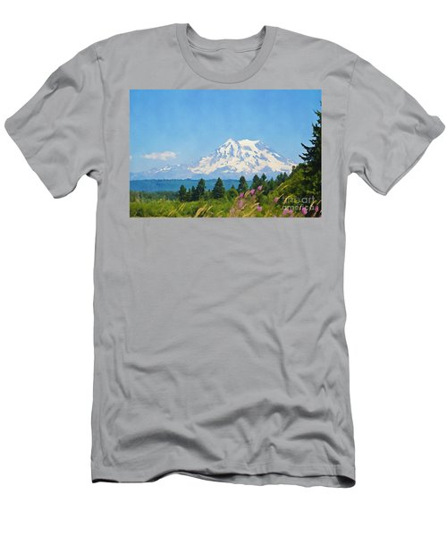 Mount Rainier Watercolor Men's T-Shirt (Athletic Fit)