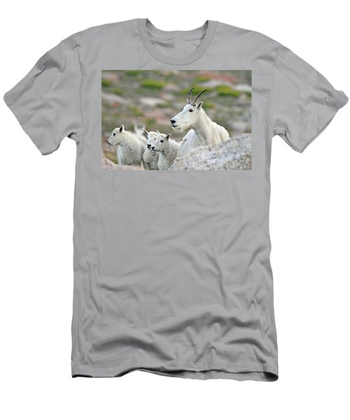 Men's T-Shirt (Slim Fit) featuring the photograph Mountain Goat Family by Scott Mahon