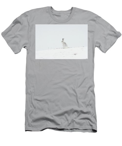 Mountain Hare Sat In Snow Men's T-Shirt (Athletic Fit)