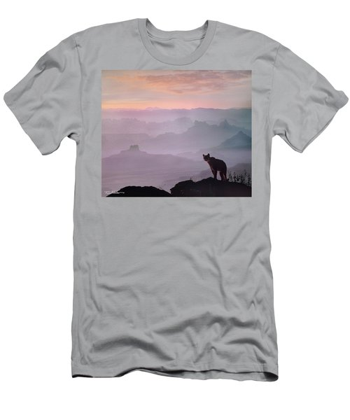 Mountain Lion Men's T-Shirt (Slim Fit) by Tim Fitzharris