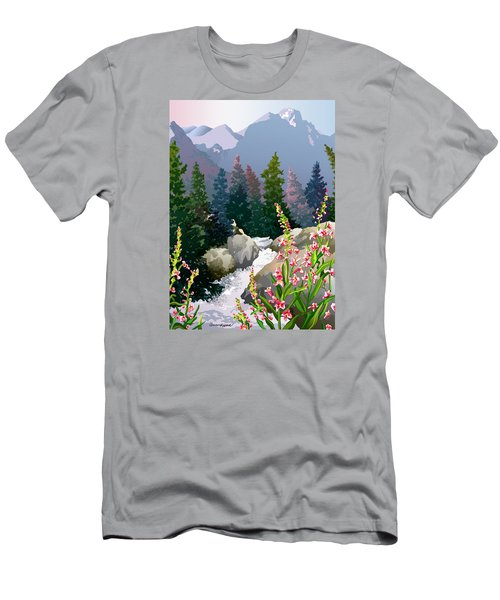 Men's T-Shirt (Slim Fit) featuring the digital art Mountain Stream by Anne Gifford