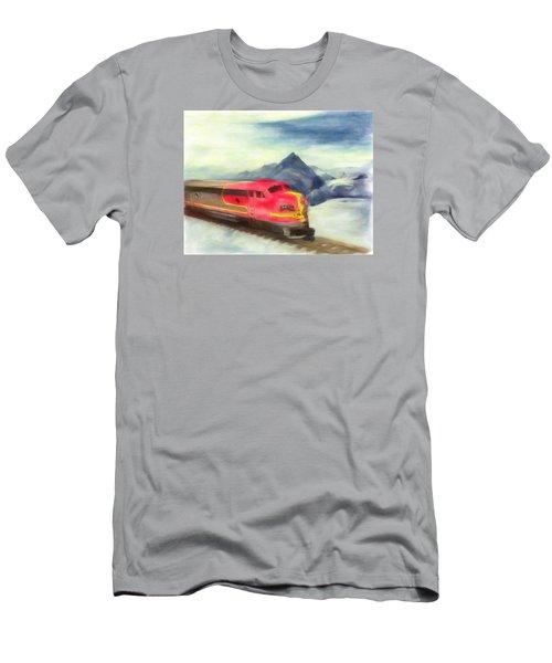 Mountain Train Men's T-Shirt (Slim Fit) by Michael Cleere