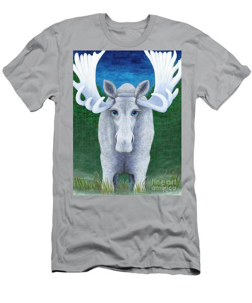 Men's T-Shirt (Slim Fit) featuring the painting Mr. Moose by Rebecca Parker