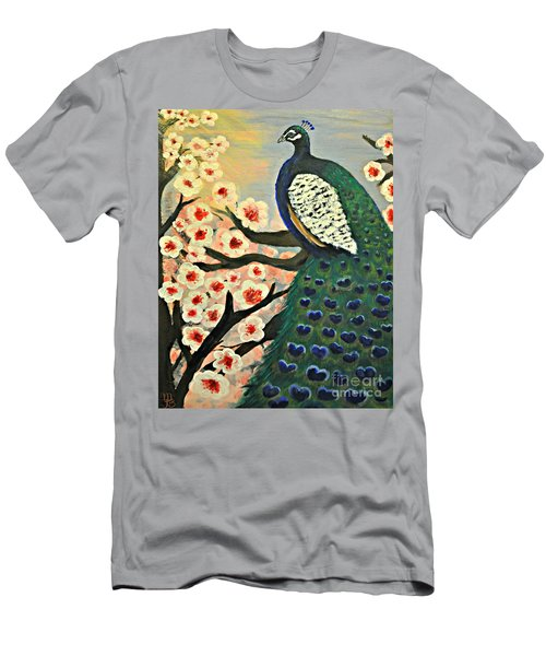 Men's T-Shirt (Slim Fit) featuring the painting  Mr. Peacock Cherry Blossom by Mindy Bench