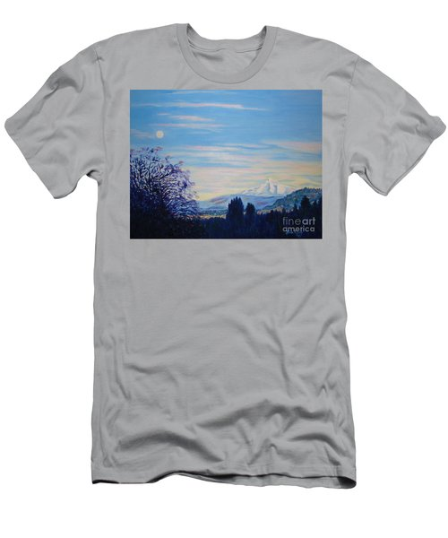 Mt Hood A View From Gresham Men's T-Shirt (Slim Fit) by Lisa Rose Musselwhite