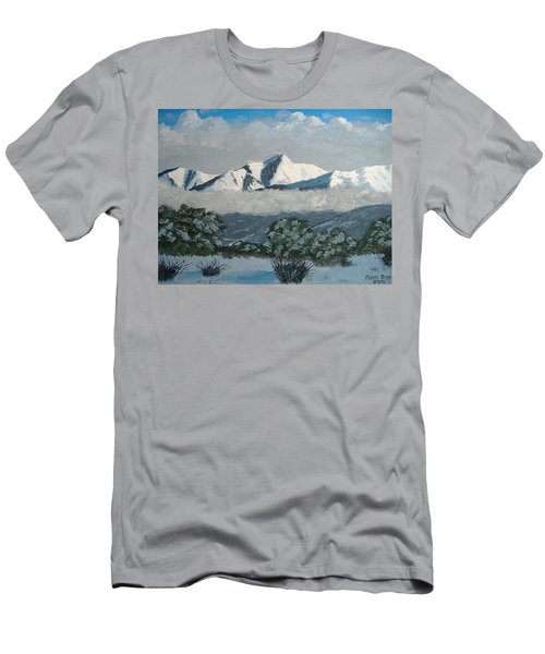 Men's T-Shirt (Slim Fit) featuring the painting Mt Princeton Co by Norm Starks