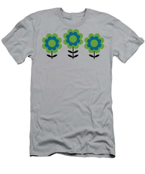 Men's T-Shirt (Athletic Fit) featuring the digital art Mug Design With Happy Flowers Blue And Green by Donna Mibus