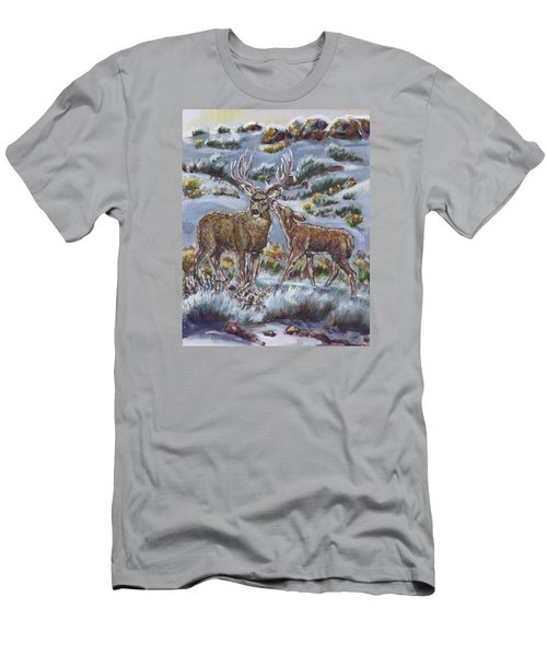 Men's T-Shirt (Slim Fit) featuring the painting Mule Deer Lovers From River Mural by Dawn Senior-Trask