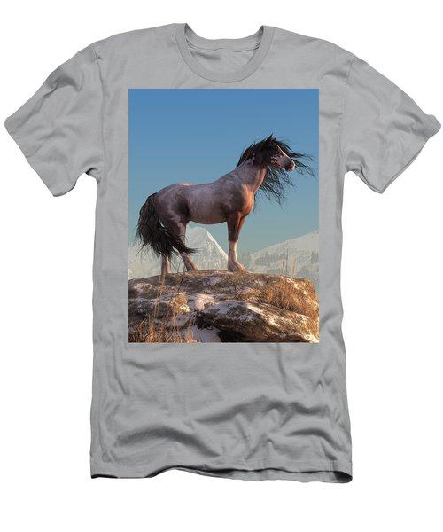 Men's T-Shirt (Athletic Fit) featuring the digital art Mustang by Daniel Eskridge