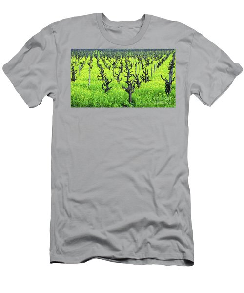 Mustard Flowers In The Vineyards Men's T-Shirt (Athletic Fit)