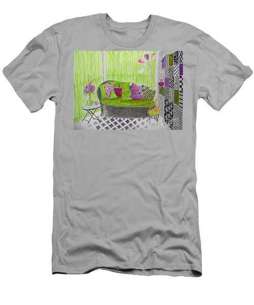 My Happy Place -- Drawing Of Colorful Moroccan Porch Men's T-Shirt (Athletic Fit)