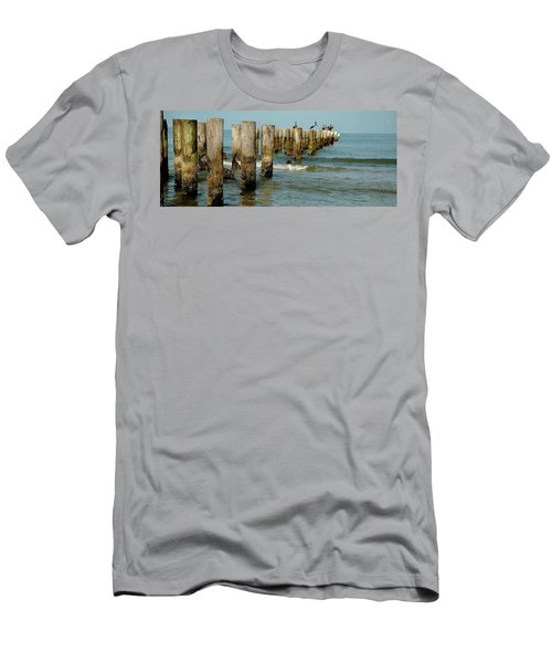 Naples Pier And Pelicans Men's T-Shirt (Athletic Fit)