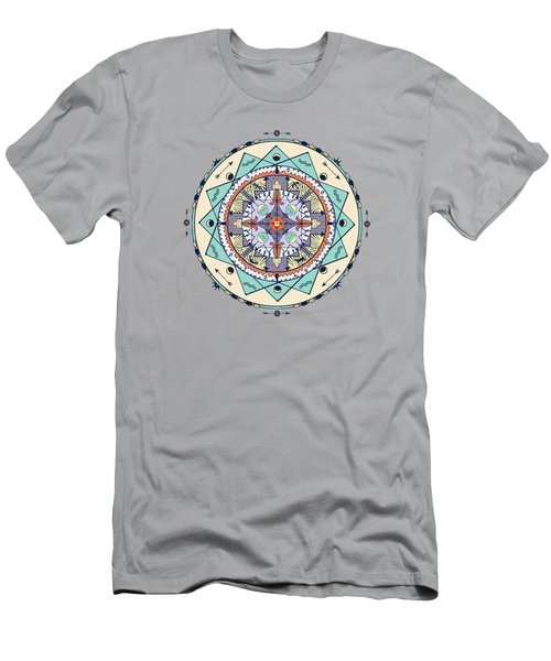 Men's T-Shirt (Slim Fit) featuring the digital art Native Symbols Mandala by Deborah Smith