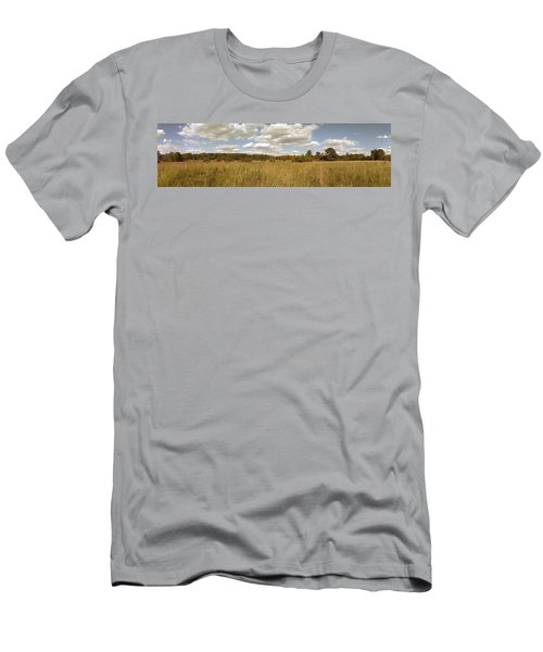 Natural Meadow Landscape Panorama. Men's T-Shirt (Athletic Fit)