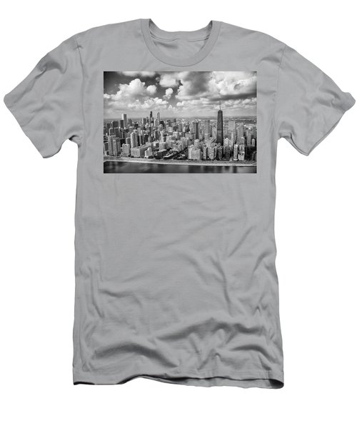 Near North Side And Gold Coast Black And White Men's T-Shirt (Athletic Fit)