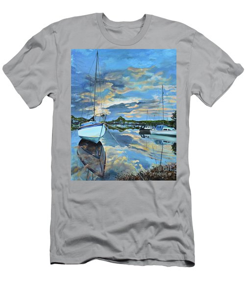 Men's T-Shirt (Athletic Fit) featuring the painting Nestled In For The Night At Mylor Bridge - Cornwall Uk - Sailboat  by Jan Dappen