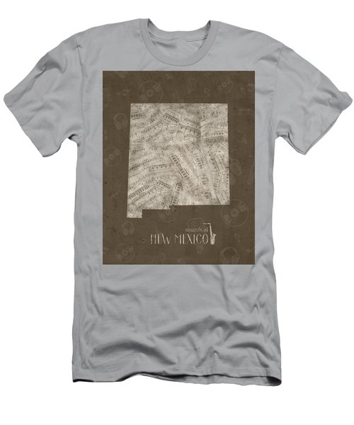 New Mexico Map Music Notes 3 Men's T-Shirt (Athletic Fit)