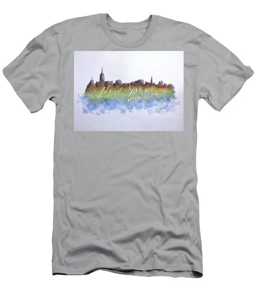 Men's T-Shirt (Slim Fit) featuring the painting New York After Time by Edwin Alverio