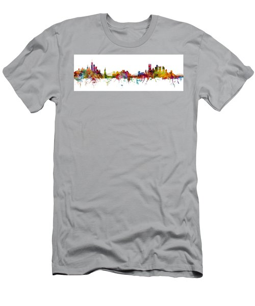 New York And Pittsburgh Skyline Mashup Men's T-Shirt (Athletic Fit)