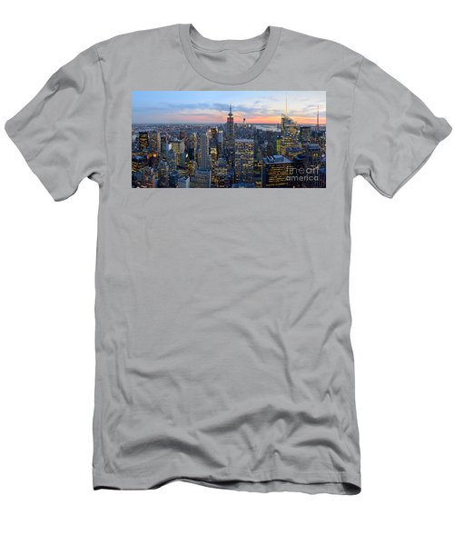 New York City Manhattan Empire State Building At Dusk Nyc Panorama Men's T-Shirt (Athletic Fit)